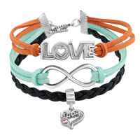 Bracelets - SILVER/ P INFINITY LOVE HEART CHARM BLACK BLUE LEATHER BRACELET alternate image 1.