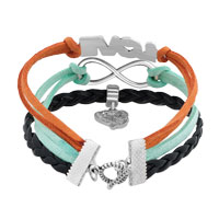 Bracelets - SILVER/ P INFINITY LOVE HEART CHARM BLACK BLUE LEATHER BRACELET alternate image 2.