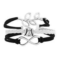 Bracelets - VINTAGE ICED OUT SILVER WHEEL DOG WHERE THERE' S A WILL THERE' S A WAY CHARM BLACK GRAY LEATHER BRACELET alternate image 1.