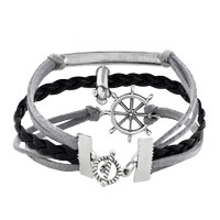 Bracelets - VINTAGE ICED OUT SILVER INFINITY TREE OF LIFE DOG ANIMAL CHARM BROWN LEATHER BRACELET alternate image 2.