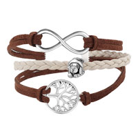 Bracelets - VINTAGE ICED OUT SILVER INFINITY CROSS PUPPY DOG CHARM BROWN PURPLE LEATHER BRACELET alternate image 1.
