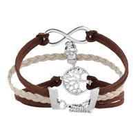 Bracelets - VINTAGE ICED OUT SILVER INFINITY CROSS PUPPY DOG CHARM BROWN PURPLE LEATHER BRACELET alternate image 2.