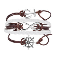 Bracelets - ICED OUT SIDEWAYS INFINITY SAILING LIFE ANCHOR WHEEL COFFEE WHITE BRAIDED LEATHER ROPE BRACELET alternate image 1.
