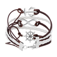 Bracelets - ICED OUT SIDEWAYS INFINITY SAILING LIFE ANCHOR WHEEL COFFEE WHITE BRAIDED LEATHER ROPE BRACELET alternate image 2.