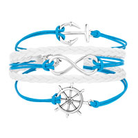 Bracelets - ICED OUT SIDEWAYS INFINITY SAILING LIFE ANCHOR WHEEL OCEAN BLUE WHITE BRAIDED LEATHER ROPE BRACELET alternate image 1.