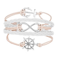 Bracelets - ICED OUT SIDEWAYS INFINITY SAILING LIFE ANCHOR WHEEL CLEAR WHITE BRAIDED LEATHER ROPE BRACELET alternate image 1.