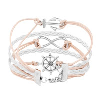 Bracelets - ICED OUT SIDEWAYS INFINITY SAILING LIFE ANCHOR WHEEL CLEAR WHITE BRAIDED LEATHER ROPE BRACELET alternate image 2.