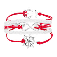 Bracelets - ICED OUT SIDEWAYS INFINITY SAILING LIFE ANCHOR WHEEL RED WHITE BRAIDED LEATHER ROPE BRACELET alternate image 1.