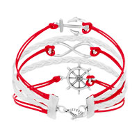 Bracelets - ICED OUT SIDEWAYS INFINITY SAILING LIFE ANCHOR WHEEL RED WHITE BRAIDED LEATHER ROPE BRACELET alternate image 2.