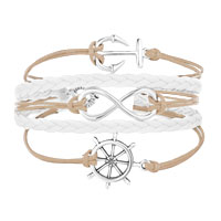 Bracelets - ICED OUT SIDEWAYS INFINITY SAILING LIFE ANCHOR WHEEL LIGHT YELLOW WHITE BRAIDED LEATHER ROPE BRACELET alternate image 1.
