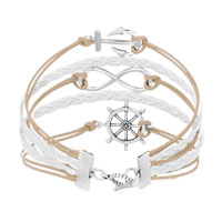 Bracelets - ICED OUT SIDEWAYS INFINITY SAILING LIFE ANCHOR WHEEL LIGHT YELLOW WHITE BRAIDED LEATHER ROPE BRACELET alternate image 2.