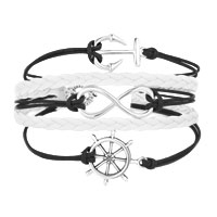 Bracelets - ICED OUT SIDEWAYS INFINITY SAILING LIFE ANCHOR WHEEL BLACK WHITE BRAIDED LEATHER ROPE BRACELET alternate image 1.