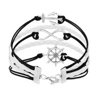 Bracelets - ICED OUT SIDEWAYS INFINITY SAILING LIFE ANCHOR WHEEL BLACK WHITE BRAIDED LEATHER ROPE BRACELET alternate image 2.