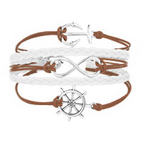 Bracelets - ICED OUT SIDEWAYS INFINITY SAILING LIFE ANCHOR WHEEL BROWN WHITE BRAIDED LEATHER ROPE BRACELET alternate image 1.