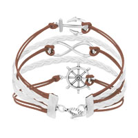 New Arrivals - ICED OUT SIDEWAYS INFINITY SAILING LIFE ANCHOR WHEEL BROWN WHITE BRAIDED LEATHER ROPE BRACELET alternate image 2.
