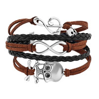 Bracelets - ICED OUT SIDEWAYS INFINITY SKULL MUSIC NOTE BROWN BLACK BRAIDED LEATHER ROPE BRACELET alternate image 1.