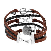 Bracelets - ICED OUT SIDEWAYS INFINITY SKULL MUSIC NOTE BROWN BLACK BRAIDED LEATHER ROPE BRACELET alternate image 2.