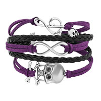 Bracelets - ICED OUT SIDEWAYS INFINITY SKULL MUSIC NOTE PURPLE BLACK BRAIDED LEATHER ROPE BRACELET alternate image 1.