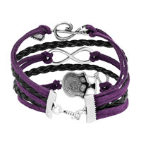 Bracelets - ICED OUT SIDEWAYS INFINITY SKULL MUSIC NOTE PURPLE BLACK BRAIDED LEATHER ROPE BRACELET alternate image 2.