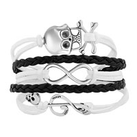 New Arrivals - ICED OUT SIDEWAYS INFINITY SKULL MUSIC NOTE WHITE BLACK BRAIDED LEATHER ROPE BRACELET alternate image 1.