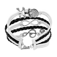 New Arrivals - ICED OUT SIDEWAYS INFINITY SKULL MUSIC NOTE WHITE BLACK BRAIDED LEATHER ROPE BRACELET alternate image 2.