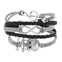 Bracelets - ICED OUT SIDEWAYS INFINITY SKULL MUSIC NOTE GRAY BLACK BRAIDED LEATHER ROPE BRACELET alternate image 1.