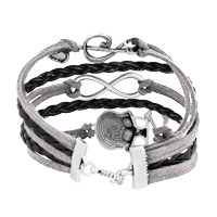 Bracelets - ICED OUT SIDEWAYS INFINITY SKULL MUSIC NOTE GRAY BLACK BRAIDED LEATHER ROPE BRACELET alternate image 2.