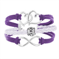 Bracelets - ICED OUT SIDEWAYS INFINITY OPEN HEART IN HEART FRIENDSHIP &  LOVE PURPLE WHITE BRAIDED LEATHER ROPE BRACELET alternate image 1.