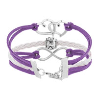Bracelets - ICED OUT SIDEWAYS INFINITY OPEN HEART IN HEART FRIENDSHIP &  LOVE PURPLE WHITE BRAIDED LEATHER ROPE BRACELET alternate image 2.