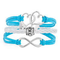 Bracelets - ICED OUT SIDEWAYS INFINITY OPEN HEART IN HEART FRIENDSHIP &  LOVE OCEAN BLUE WHITE BRAIDED LEATHER ROPE BRACELET alternate image 1.