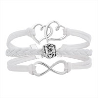 Bracelets - ICED OUT SIDEWAYS INFINITY OPEN HEART IN HEART FRIENDSHIP &  LOVE WHITE WHITE BRAIDED LEATHER ROPE BRACELET alternate image 1.