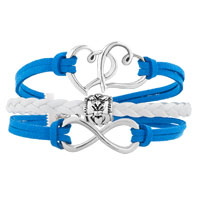 Bracelets - ICED OUT SIDEWAYS INFINITY OPEN HEART IN HEART FRIENDSHIP &  LOVE BLUE WHITE BRAIDED LEATHER ROPE BRACELET alternate image 1.