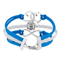 Bracelets - ICED OUT SIDEWAYS INFINITY OPEN HEART IN HEART FRIENDSHIP &  LOVE BLUE WHITE BRAIDED LEATHER ROPE BRACELET alternate image 2.