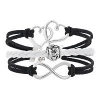 Bracelets - ICED OUT SIDEWAYS INFINITY OPEN HEART IN HEART FRIENDSHIP &  LOVE BLACK WHITE BRAIDED LEATHER ROPE BRACELET alternate image 1.