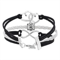 Bracelets - ICED OUT SIDEWAYS INFINITY OPEN HEART IN HEART FRIENDSHIP &  LOVE BLACK WHITE BRAIDED LEATHER ROPE BRACELET alternate image 2.
