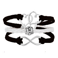 Bracelets - ICED OUT SIDEWAYS INFINITY OPEN HEART IN HEART FRIENDSHIP &  LOVE BROWN WHITE BRAIDED LEATHER ROPE BRACELET alternate image 1.