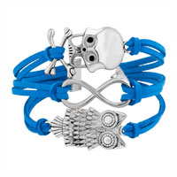 Bracelets - ICED OUT SIDEWAYS INFINITY OWL ANIMAL SKULL SKY BLUE BRAIDED LEATHER ROPE BRACELET alternate image 1.