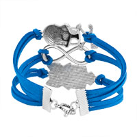 Bracelets - ICED OUT SIDEWAYS INFINITY OWL ANIMAL SKULL SKY BLUE BRAIDED LEATHER ROPE BRACELET alternate image 2.