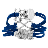 Bracelets - ICED OUT SIDEWAYS INFINITY OWL ANIMAL SKULL SAPPHIRE BLUE BRAIDED LEATHER ROPE BRACELET alternate image 1.
