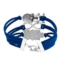 Bracelets - ICED OUT SIDEWAYS INFINITY OWL ANIMAL SKULL SAPPHIRE BLUE BRAIDED LEATHER ROPE BRACELET alternate image 2.