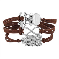 Bracelets - ICED OUT SIDEWAYS INFINITY OWL ANIMAL SKULL COFFEE BROWN BRAIDED LEATHER ROPE BRACELET alternate image 1.