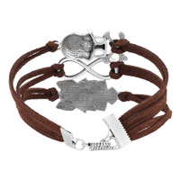 Bracelets - ICED OUT SIDEWAYS INFINITY OWL ANIMAL SKULL COFFEE BROWN BRAIDED LEATHER ROPE BRACELET alternate image 2.