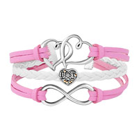 Bracelets - ICED OUT SIDEWAYS INFINITY OPEN HEART IN HEART BEST MOM HEART CHARMS PINK BRAIDED LEATHER BRACELET alternate image 1.