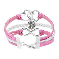 Bracelets - ICED OUT SIDEWAYS INFINITY OPEN HEART IN HEART BEST MOM HEART CHARMS PINK BRAIDED LEATHER BRACELET alternate image 2.