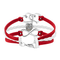 Bracelets - ICED OUT SIDEWAYS INFINITY OPEN HEART IN HEART BEST MOM HEART CHARMS RED BRAIDED LEATHER BRACELET alternate image 2.