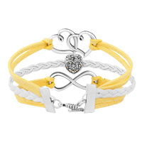 New Arrivals - ICED OUT SIDEWAYS INFINITY OPEN HEART IN HEART BEST MOM HEART CHARMS YELLOW BRAIDED LEATHER BRACELET alternate image 1.