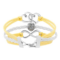 New Arrivals - ICED OUT SIDEWAYS INFINITY OPEN HEART IN HEART BEST MOM HEART CHARMS YELLOW BRAIDED LEATHER BRACELET alternate image 2.
