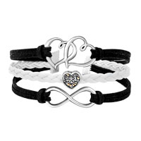 Bracelets - ICED OUT SIDEWAYS INFINITY OPEN HEART IN HEART BEST MOM HEART CHARMS BLACK BRAIDED LEATHER BRACELET alternate image 1.