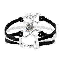 Bracelets - ICED OUT SIDEWAYS INFINITY OPEN HEART IN HEART BEST MOM HEART CHARMS BLACK BRAIDED LEATHER BRACELET alternate image 2.