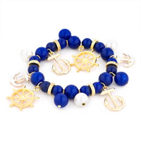 Bracelets - BLUE WHITE HELM &  ANCHOR PEARL BEAD GOLD SAILOR BANGLE BRACELET alternate image 1.